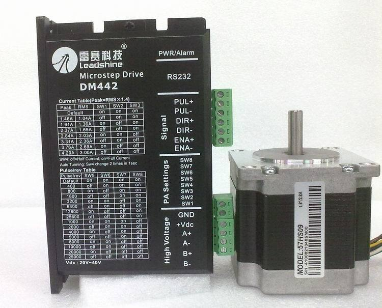 Leadshine Stepper Motor Drive 2ph 2.8A 0.9NM NEMA23 57mm 18~40VDC For CNC Engraving Machine 57HS09+DM442 [joy] hakusan original stepper motor drive 4257 series drive maximum 64 aliquots voltage 15v 40 2pcs lot