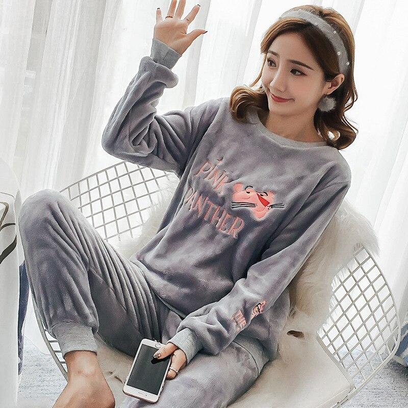 Las mujeres pijamas de otoño e invierno de las mujeres de manga larga ropa de dormir de franela caliente encantador Tops + Pantalones de dormir pijama mujer