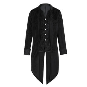 Mens Tailcoat Jacket Goth Steampunk Uniform Costume Praty Outwear Coat Long Sleeve New Fashion Black Red chaqueta hombre