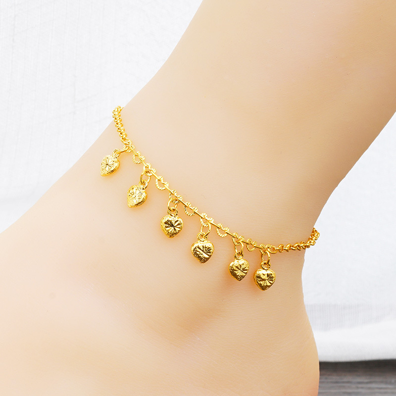 2018 Explosion Models Dubai Gold Jewelry Elegant Woman Anklet Multi-heart Shape Chain High Quality Copper Alloy Anklet Jewelry