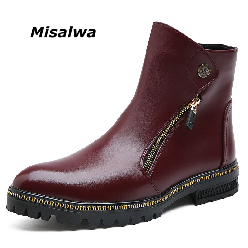 Misalwa Men Ankle Boots Spring and Winter Plush Version Men leather Boots Metal Zipper Simple Fashion