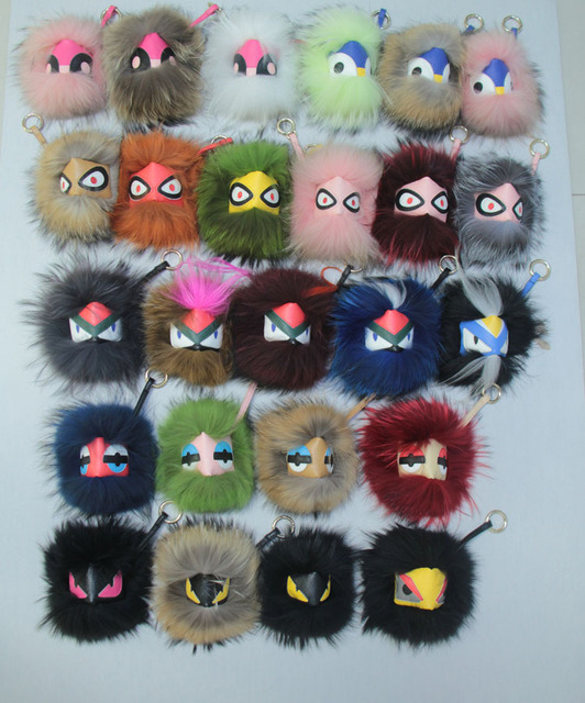 Free shipping Fashion Funny leather grimace little monster fox fur bag bugs small pendant accessories Lafayette Karlito NO BOX