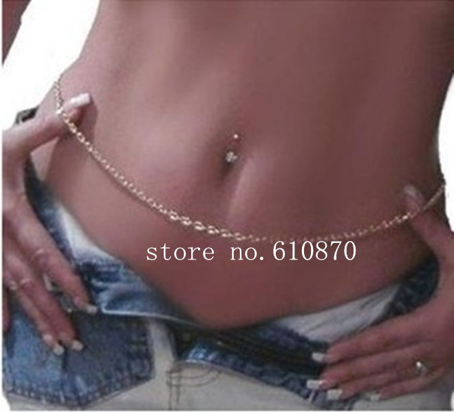 5PCS Simple Gold Metal Belly Chain Jewelry Fashion Body Chains