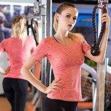 297f42a038 De Secagem Rápida Camisas de Esportes da Ioga Elástica da aptidão das  Mulheres T Shirt Calças Justas Ginásio Correndo Tops Tees .