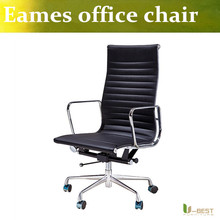 U-BEST Classic Emes Replica medium back chair in black leather, Emes Style Office Chair Ribbed  High Back reproduction