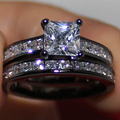 Lady's18K Black Gold Filled Square White Simulated Diamond Stone CZ Engagement Two-layer Ring Set for Women