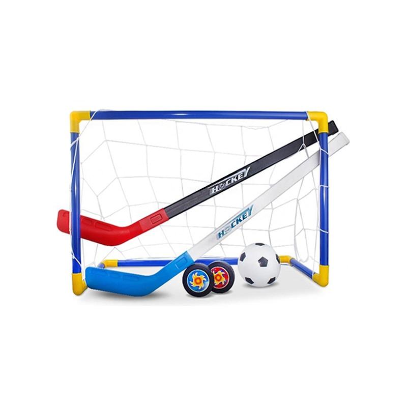Mini Hockey Goal Set Football 2 In 1 hokejka Easy Assemble Kids Ice Hockey Stick Training  Toy Tools Knee Hockey Home Soccer