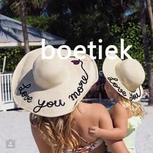 2017 femmes d'été De Mode à la main amour vous paillette fedora de paille soleil chapeau chapeau de plage pour enfants