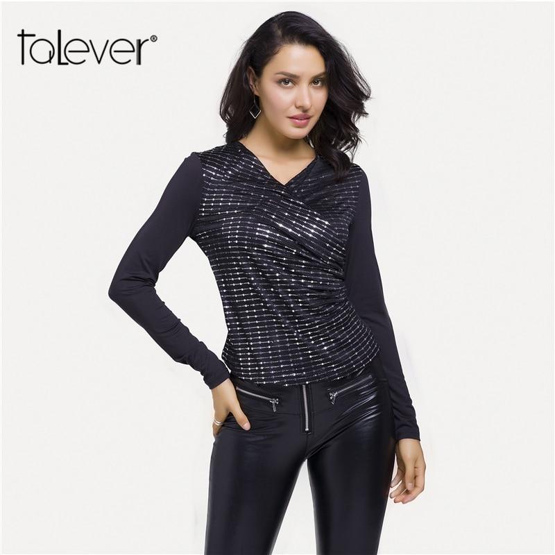 982f44c7a3439 Women Fashion Autumn Shiny Sequin Black Shirt Casual V-Neck Long Sleeve Shirts  Top Ladies Elegant Slim Blouse Plus Size Talever