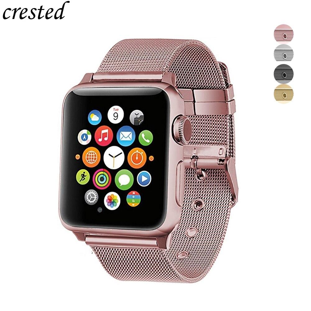 Correa para apple watch 4/3/2/1 banda de acero inoxidable líneas pulsera milanese loop de la venda de reloj para iwatch 44mm/40mm/42mm/38mm