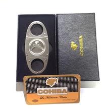 COHIBA резак для сигар из нержавеющей стали Классический Металлический Стальной ноготь для сигарет гильотина для сигар карманный нож подарочная коробка