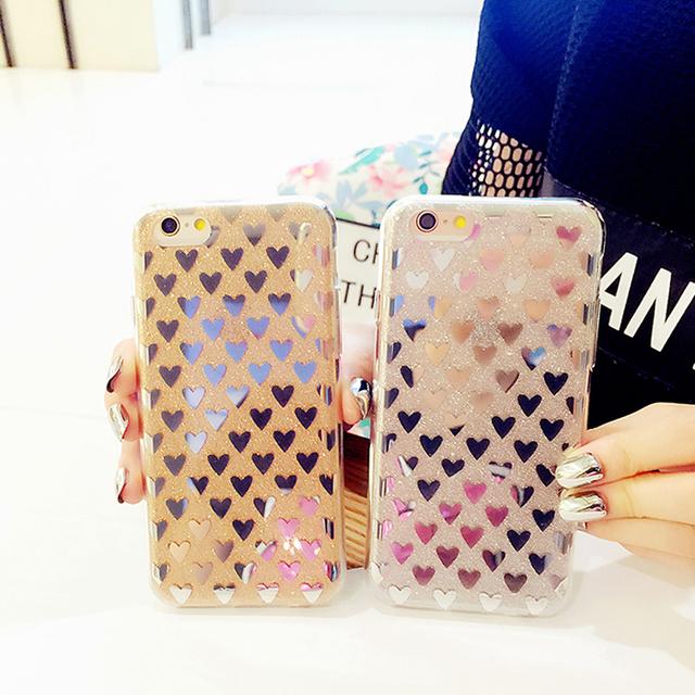 Błyszczące etui w serca dla iphone 5 5S 5SE 6 6S 6Plus 6S Plus 7 7Plus