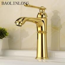 цена на Gold Brass Bathroom Basin Faucets Vanity Vessel Sinks Mixer Single Water Crane Bath Faucet Tap
