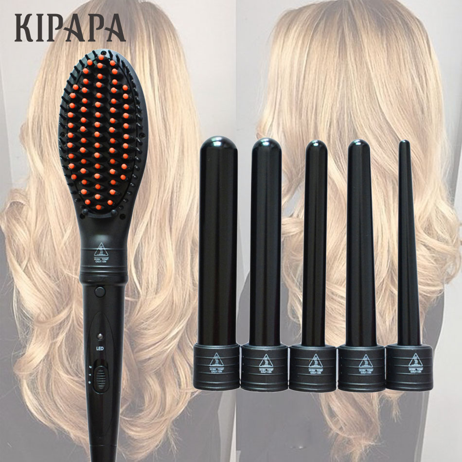 6P Rollers Curling Iron Wave Wand Set Interchangeable Ceramic Electric Hair Curler Brush Electric Hair Straightener Comb