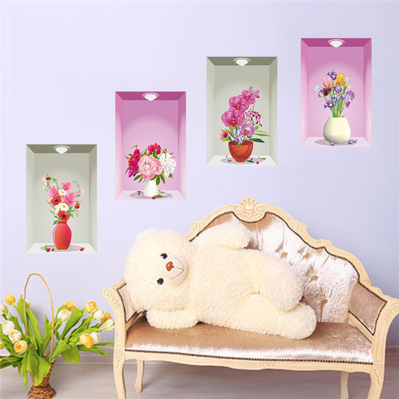 Flower Vase Floral Wall Stickers Bedroom Living Room Decoration 3D Wall  Decals Home Decor Poster Picture In Wall Stickers From Home U0026 Garden On ...