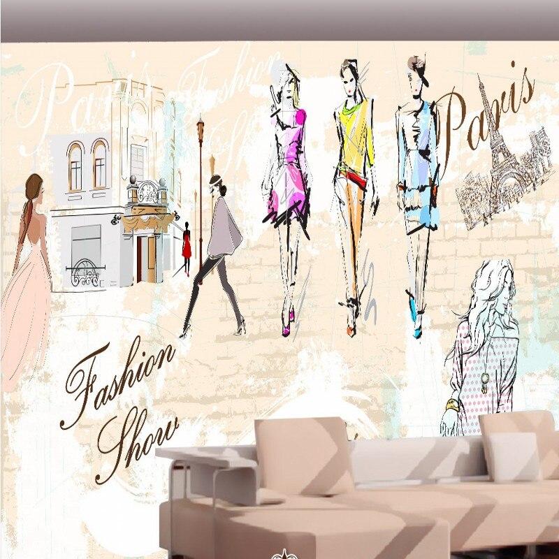 c4ffcabc3 Arte Papel De Parede 3D moda salão de beleza loja de roupas de moda ...