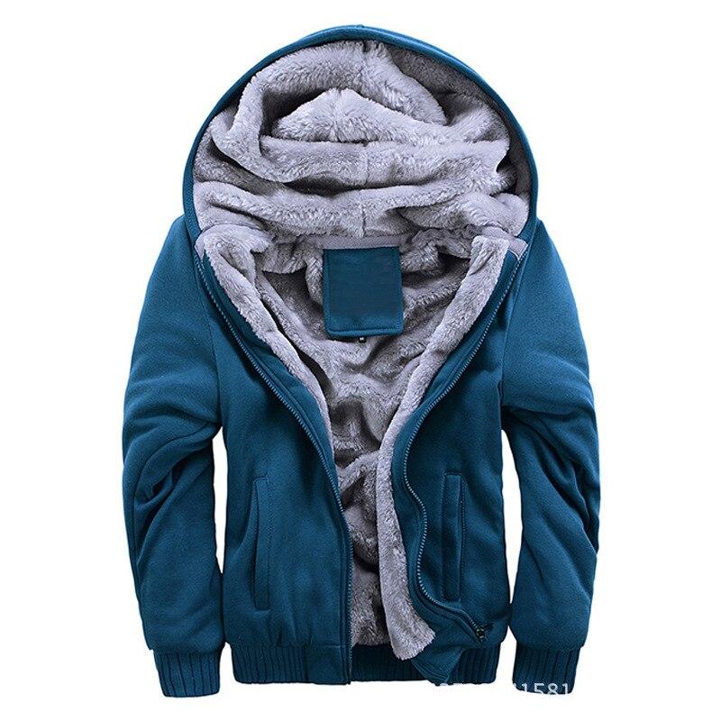 Fleece Warm Men Jacket For Autumn Winter Male Casual College Teen Solid Parka Windbreaker Red Gray Outerwear Cotton Stretch Coat