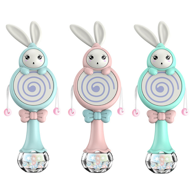 Baby Rabbit Style Toys Mobile Musical Rattle Soft Teether Interactive Toy Xmas Birthday Gifts Educational Toys
