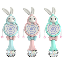 Baby Rabbit Style Toys Mobile Musical Rattle Soft Teether Interactive Toy Xmas Birthday Gifts Educational Toys baby kids plush rattle toys educational musical soft baby teether bed stoller hanging musical raccoon toys baby toy gift
