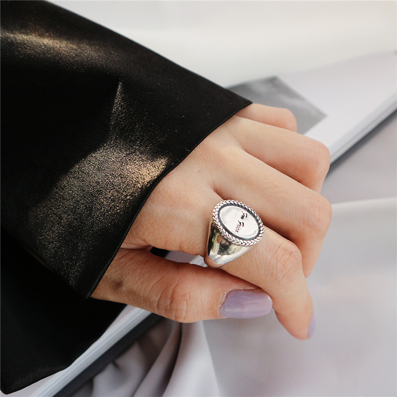 Real 925 Sterling Silver Vintage Minimalist Round Disc Letters Adjustable Ring Fine Jewelry For Fashion Women Party Gift 54351Real 925 Sterling Silver Vintage Minimalist Round Disc Letters Adjustable Ring Fine Jewelry For Fashion Women Party Gift 54351