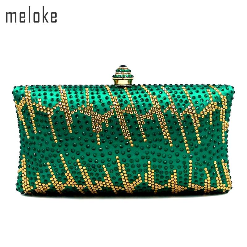 Meloke 2019 de înaltă calitate, verde de cristal de cristal de - Genți