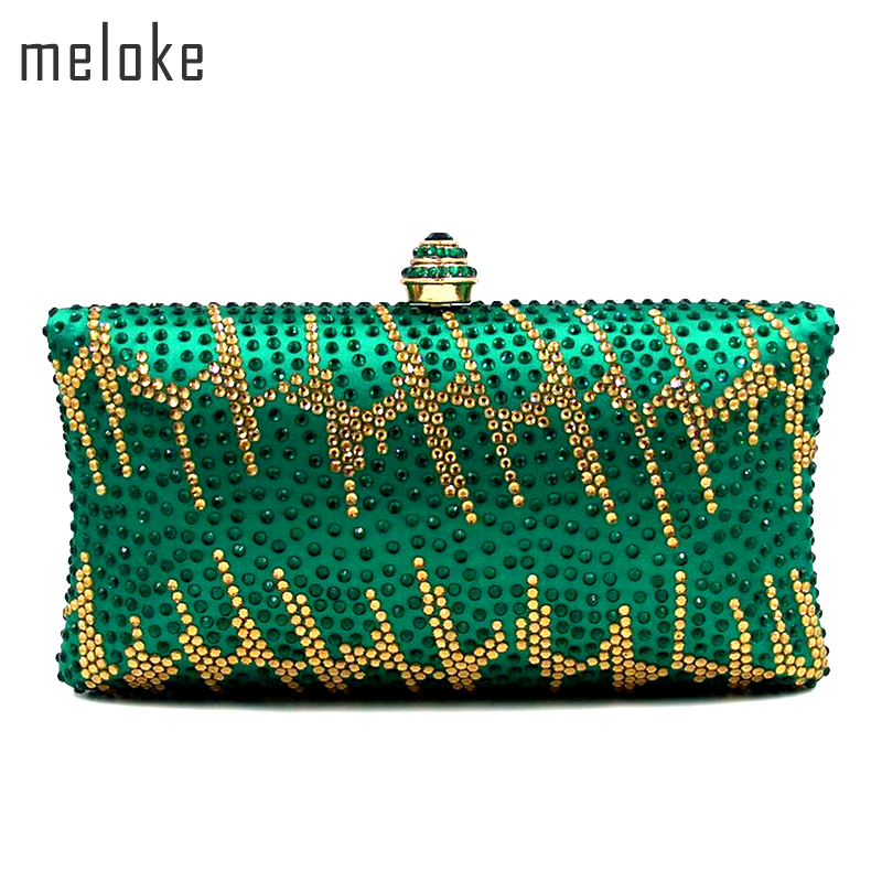 Meloke 2019 de alta calidad verde de cristal garras de noche moda - Bolsos