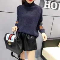 2018 Women Sweaters And Pullovers New Winter Rabbit Hair Knitted Sweater Stitching Folk Style Pattern Pull Femme Hiver Sweaters