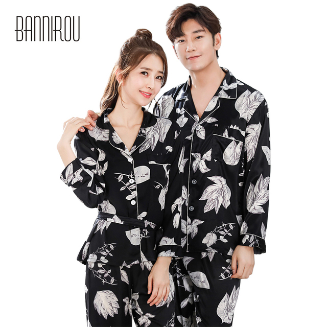 f0e6a03e0e Spring Couple Matching Pajamas Sets Silks Satins Chiffon Floral Black Full  Thin Lapel His-and-her Home Wear For Lovers Man Woman