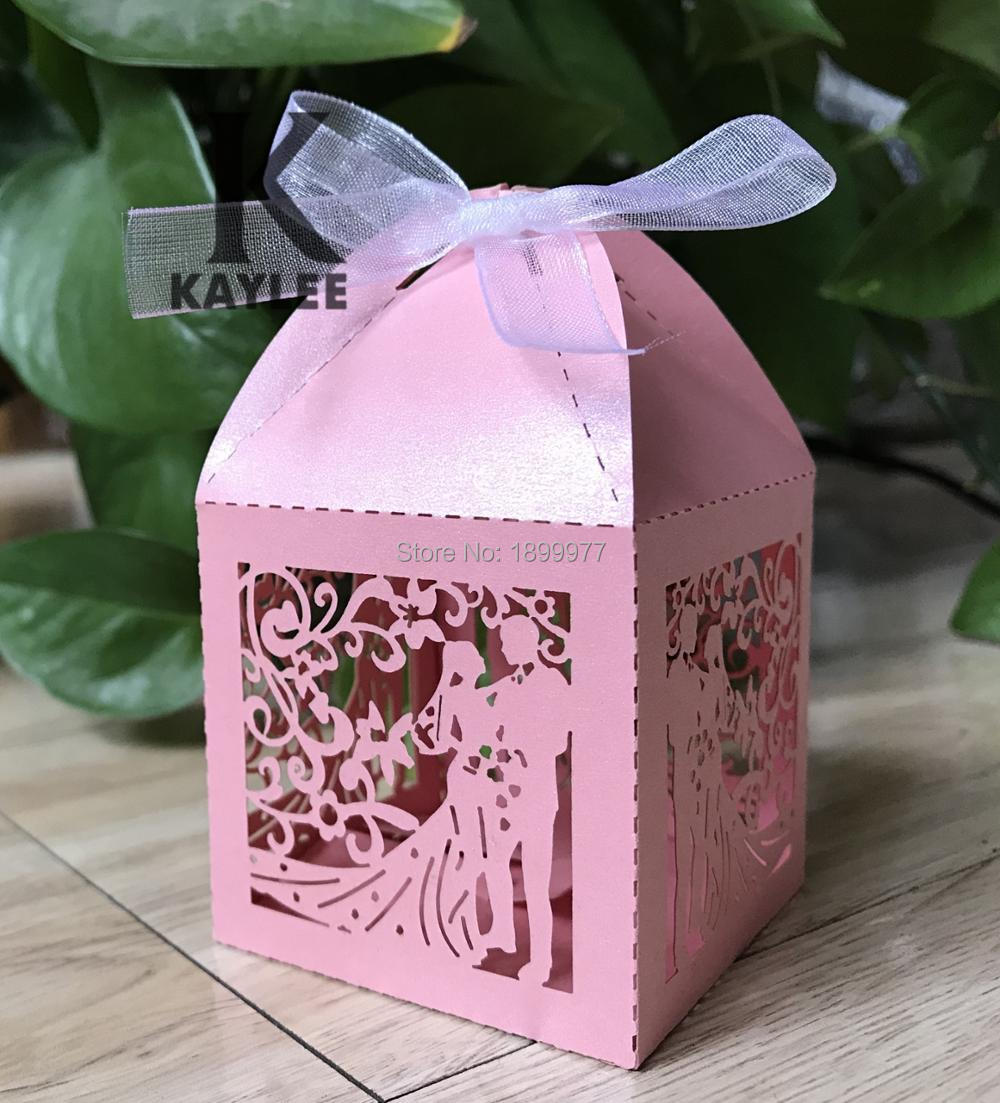 300pcs Bride Groom Wedding Gift Box,Engagement Party Favor Box,Laser ...