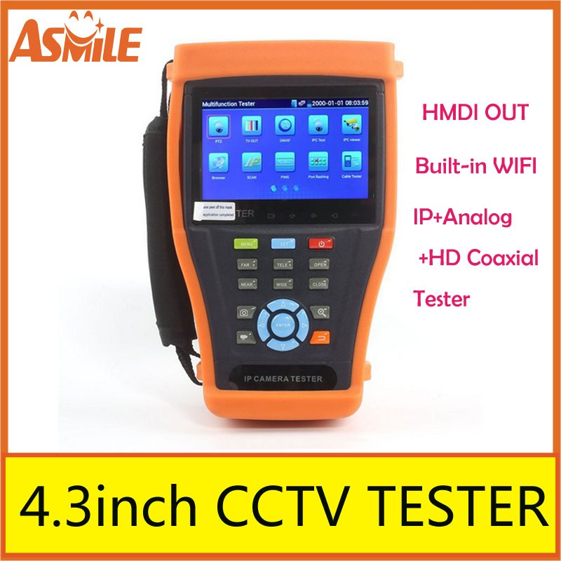 Newest 4.3 inch wifi LCD Display IPC tester IP camera tester Monitor PoE Test CCTV Tester ONVIF SDI tdr cable tester IPC 4300