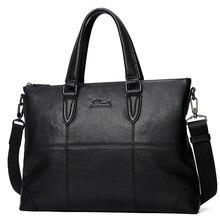 2017 Cow Genuine Leather Bag Casual Handbags Cowhide Men Crossbody Bags Men's Travel Bags Tote black Laptop Men Bag