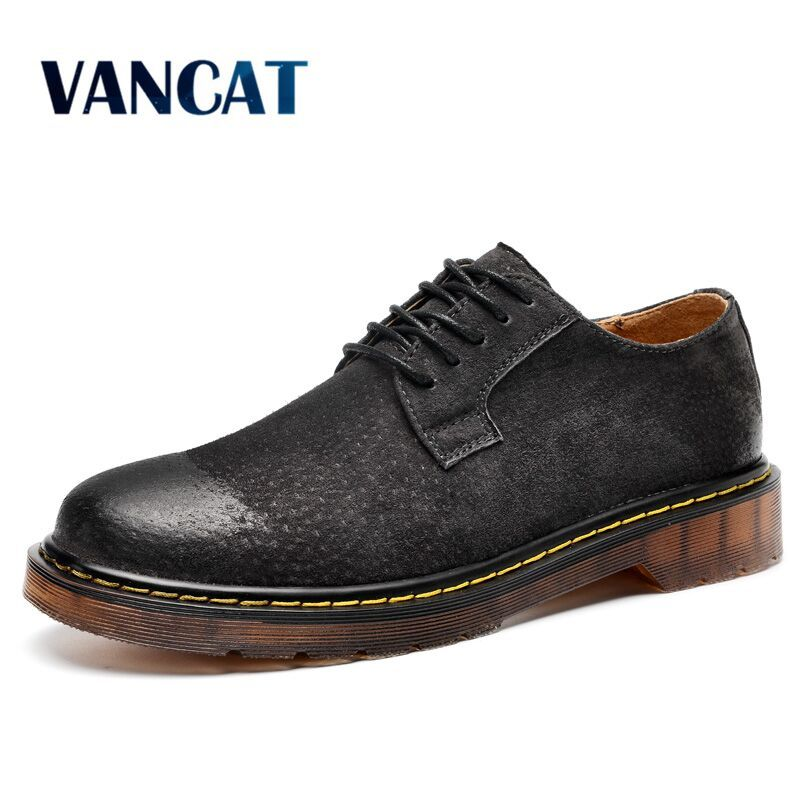 VANCAT Big Size Comfort Oxfords Casual shoes Men Flats Quality Suede Men Loafers Shoes Genuine Leather Shoes Sapato Masculino high quality genuine leather men shoes lace up casual shoes handmade driving shoes flats loafers for men oxfords shoes