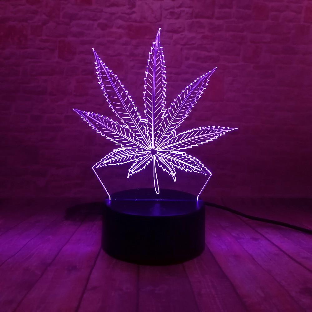 Piękna lampa LED Illusion 3D z lampką nocną w kształcie liścia - Lampki nocne - Zdjęcie 5