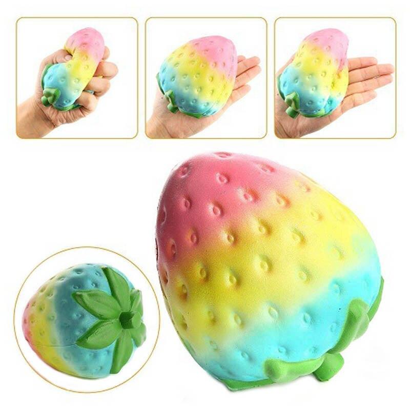 Slow Rising Jumbo Green Strawberry Anti-Stress Fruit Soft Squishy Toys For Children Kids Big Squishy Anti-stress Fidget Toy Fun