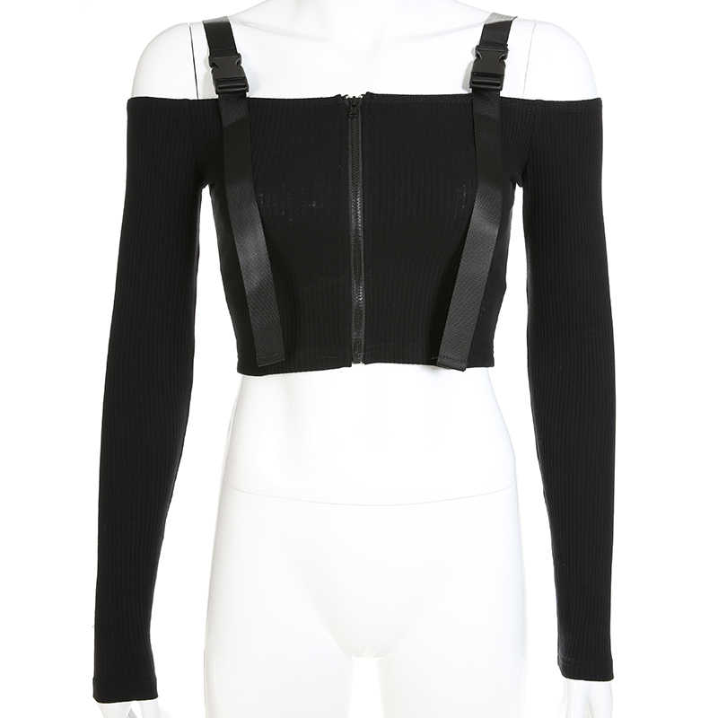 cb362f7dfff ... Sweetown Vogue Off The Shoulder Long Sleeve Crop Tops T Shirt For Women  Sexy Korean Style ...