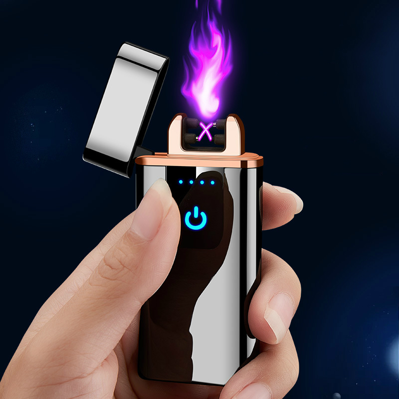 New Windproof Touch Switch USB Charging Double Arc Lighter Rechargeable Battery Electronic Cigarette Flameless Cigar Lighters