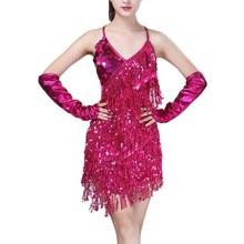 4813ce8bb7 Wydajność 2018 do tańca dla kobiet ubrania Salsa kostium 3 sztuk zestaw  paski do tańca towarzyskiego Latin cekinowe sukienki dla.