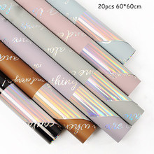20pcs Shimmer Flower Wrapping Paper 60*60cm Waterproof Gift Christmas  Scrapbook