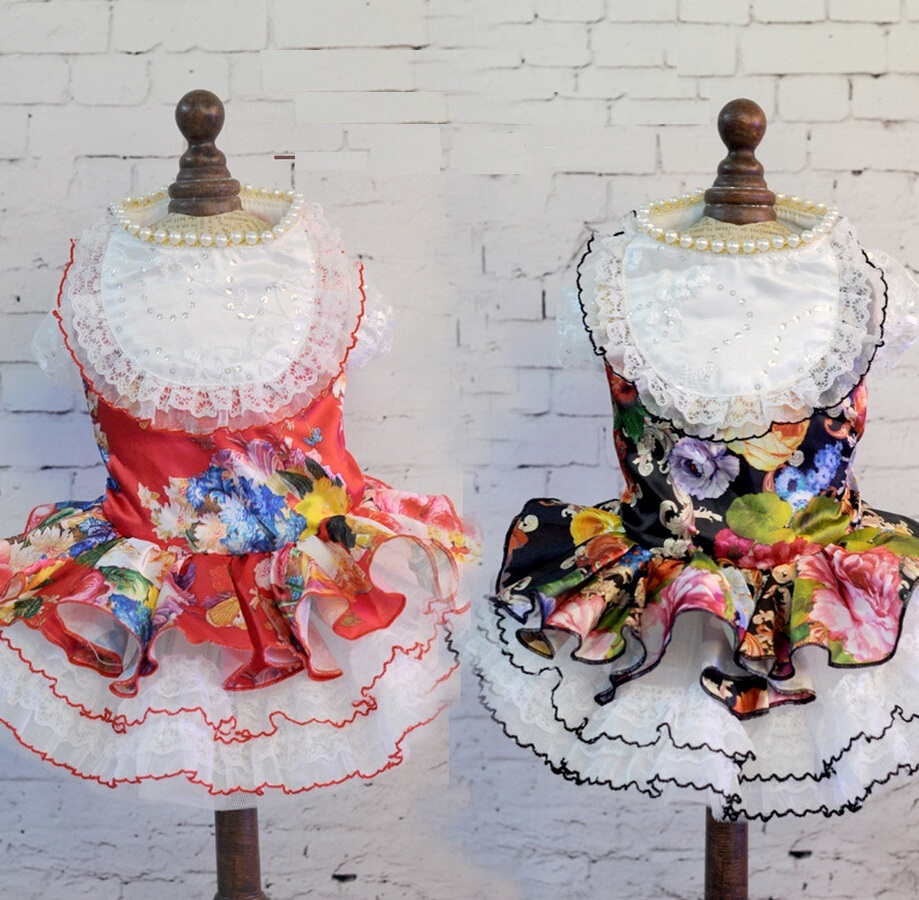 Wedding Dress for Small Dogs Clothing Dress Pet Skirt Floral Cat Dress Dog Clothes XS S M L XL