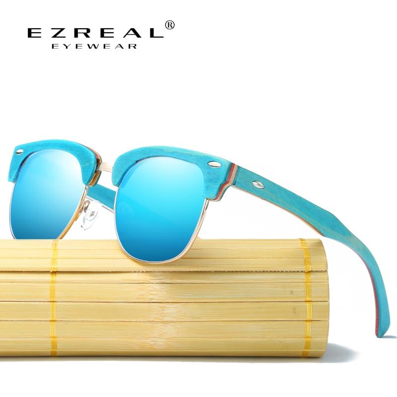 EZREAL Half Frame Holzsonnenbrille Frauen Markendesign Vintage Rivet Unisex Bambus Sonnenbrille Herren Hochwertige Brillen Oculos