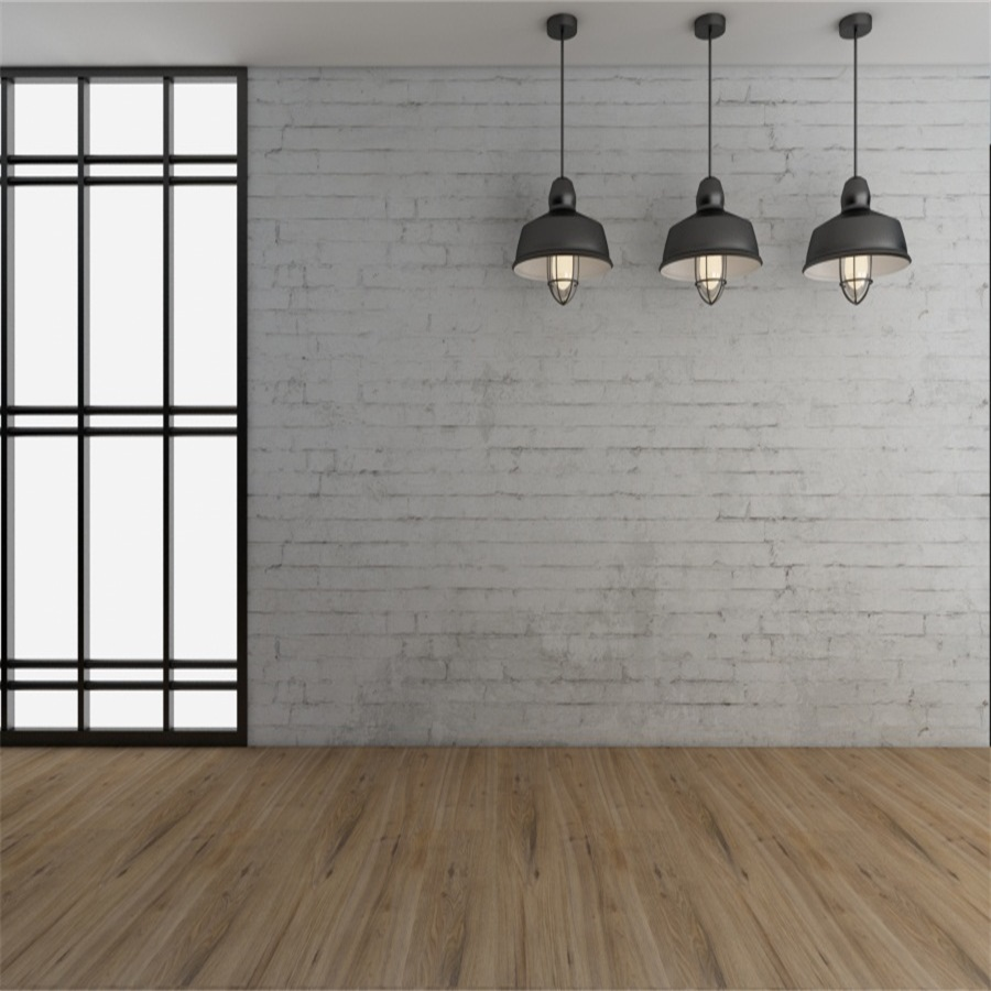 Laeacco French Window Lamps Brick Wall Wooden Floor