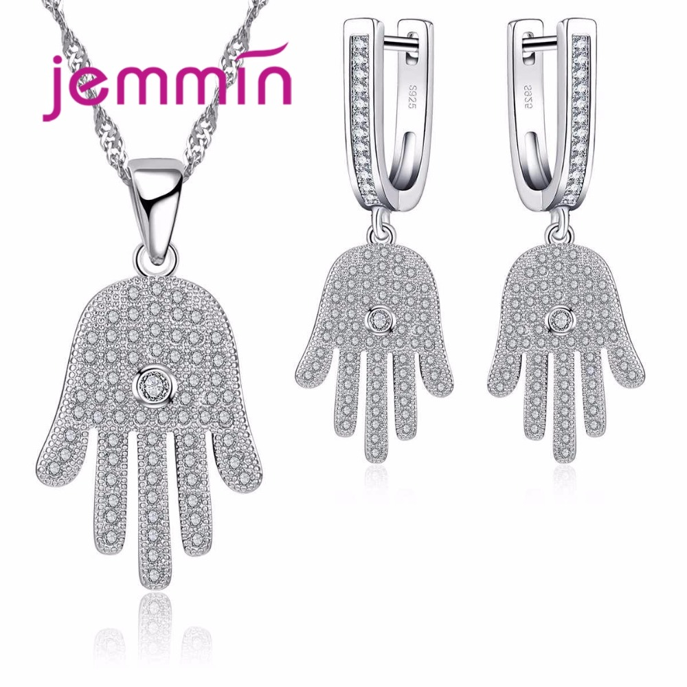 Exquistie Fine 925 Sterling Silver Palm Hamsa Rhinestone Necklace And Earrings Jewelry Set For Women Gift Party Bijoux