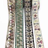 1 quintal clássico europeu e americano do vintage bordado rendas linha de osso lantejoulas rendas guarnição estilo étnico acessórios vestuário