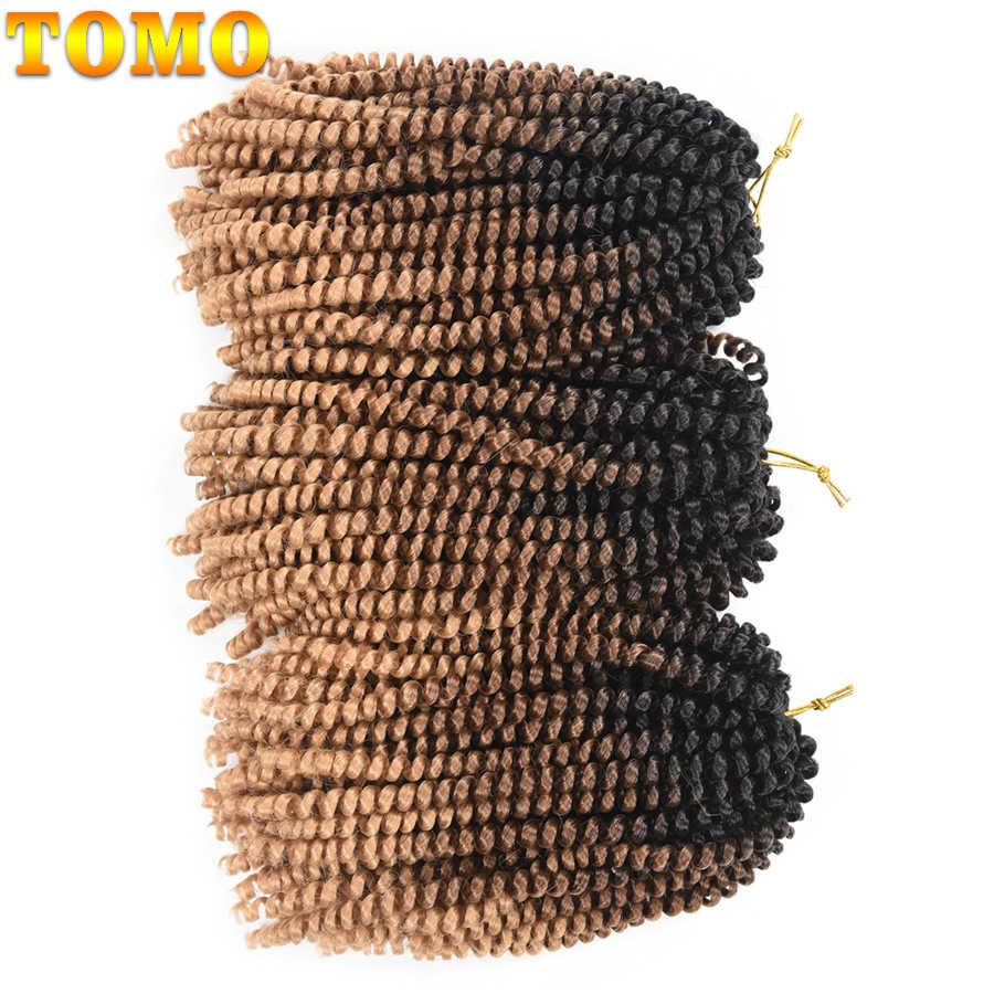 TOMO 8 pulgadas Soft Spring Twist extensión de cabello Crochet trenzas de cabello Micro sintético rizado tejido Crochet trenzas 30 raíces