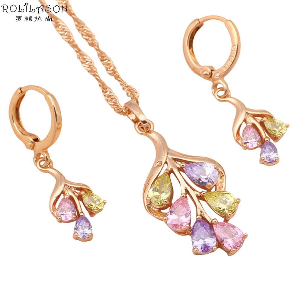 Wedding & Engagement Jewelry Fashion Wedding Jewelry Pm Plating Blue/red/purple Necklace Set Women Crystal Earring Sets Ring Accessories Gift Strong Resistance To Heat And Hard Wearing Bridal Jewelry Sets