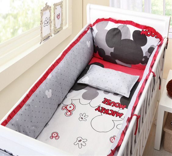 Promotion! 6PCS Cartoon Baby Product Baby crib bedding set Baby Product baby bed set bumpers (bumper+sheet+pillow cover)