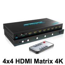 цена на 4x4 HDMI True Matrix Switcher 4K HDMI Switch Splitter 4 IN 4 Out Support Ultra HD HDMI 1.4 4Kx2K 1080P RS232 with IR Remote