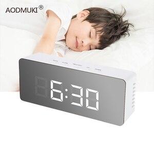 Image 1 - Montre numérique table alarme horloge numérique despertador LED Snooze veilleuses température Table cuisine salle de bains bureau décoration