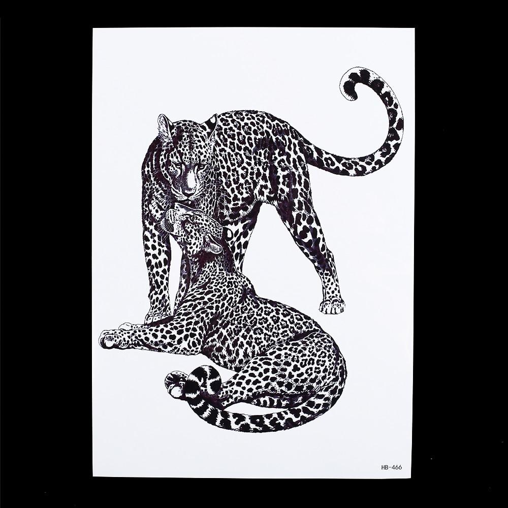 Moda 1 Hoja Negro Leopard Tattoo Impermeable Calcomanía HB466 Fresco Hombres Muj