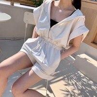 2019 Women's Summer Short Sleeve Ladies Elegant Playsuits Solid Casual Romper Playsuits Womens Loose Rompers Trousers